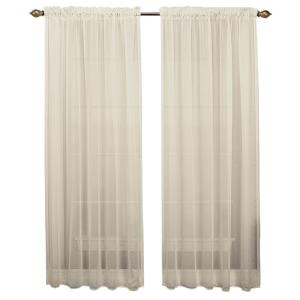 Sheer Tergaline Rod Pocket Curtain Panel 54 inch W x 84 inch L Ivory by