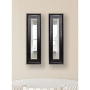 14.25 inch x 32.25 inch Black with Silver Caged Trim Vanity Mirror (Set of 2-Panels) by