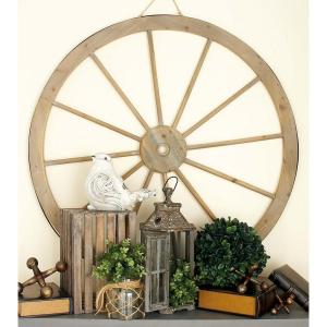 45 inch Western Inspired Brown Wood Wagon Wheel Wall Decor by