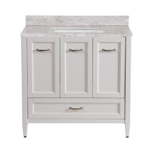 Home decorators collection claxby 36 in vanity in cream with stone effect vanity top in winter Home decorators collection 36 vanity