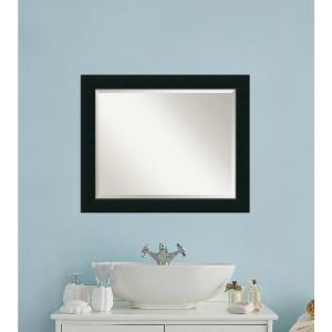 Amanti Art Corvino Black Wood 33 inch W x 27 inch H Contemporary Bathroom Vanity Mirror by