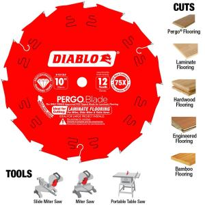 Diablo 10 inch x 12-Tooth Polycrystalline Diamond (PCD) Tipped Ultimate Flooring Blade by