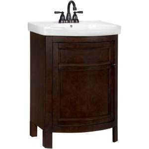 Glacier Bay Tuscan 23-3/4 inch W x 18-1/4 inch D Vanity in Chocolate with Vitreous China Vanity Top in White by