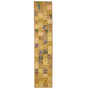 LR Resources Timbuktu 16 inch H x 80 inch W Hand Crafted Gold Cotton and Poly Recycled Sari Table Runner by