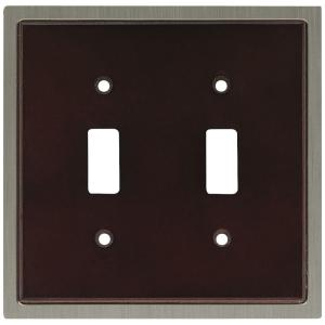 Liberty Insert Decorative Double Switch Plate, Espresso and Satin Nickel