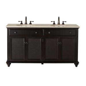 ansley 60 in w double bath vanity in worn black with stone vanity top