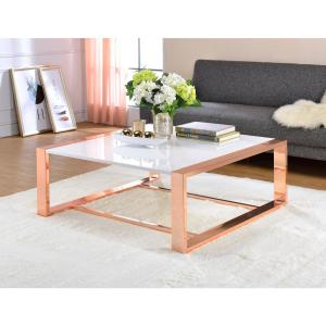 ACME Furniture Porviche White High Gloss and Rose Gold Coffee Table by