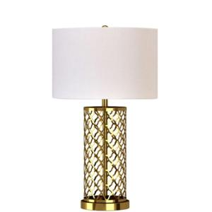 Alsy 26 inch Antique Brass Laser Cut Table Lamp with White Linen Shade by