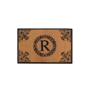 A1HC Hand Crafted Floral 30 inch x 48 inch Monogrammed R Entry Double Door Mat by