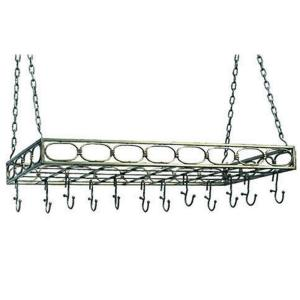 Old Dutch 36 inch x 17.75 inch x 3.25 inch Antique Pewter Rectangular Pot Rack with 16 Hooks by