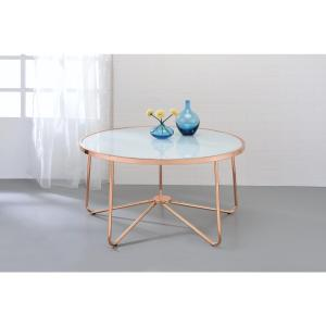 Acme Furniture Alivia Frosted Glass and Rose Gold Coffee Table by