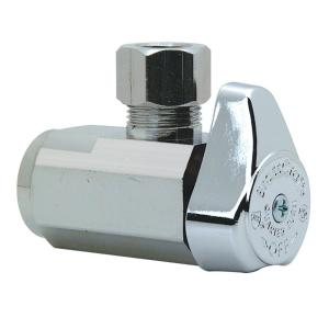 BrassCraft 1/2 in. FIP Inlet x 3/8 in. OD Compression Outlet Chrome Plated Brass 1/4-Turn Angle Valve