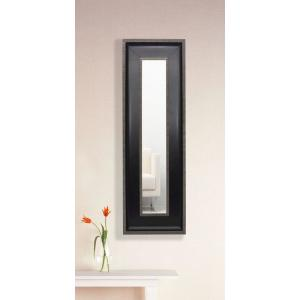 18.25 inch x 32.25 inch Black with Silver Caged Trim Vanity Mirror Single Panel by