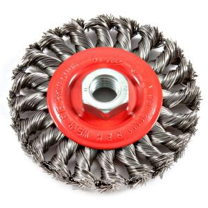 Forney 4 inch x 5/8 in.-11 Threaded Arbor Twist Knot Wire Wheel Brush from Clevises Threaded Wire