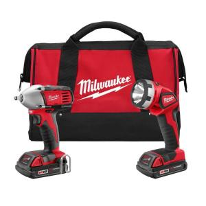 Milwaukee M18 18-Volt Lithium-Ion Cordless Compact Impact Wrench/Light Combo Kit (2-Tool)