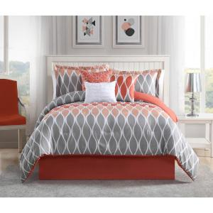 Clarisse Coral/Grey/White 7-Piece Full/Queen Comforter Set by