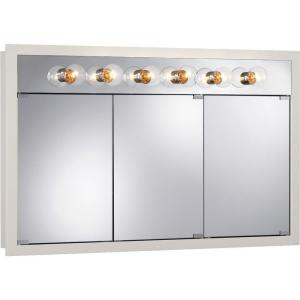 NuTone Granville 48 in. Surface Mount Medicine Cabinet in Classic White with Six Bulb Light