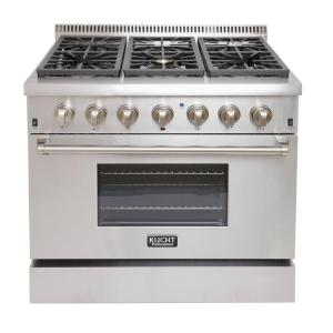 Kucht Pro-Style 36 inch 5.2 cu. ft. Dual Fuel Range with Sealed Burners and Convection Oven in Stainless Steel by