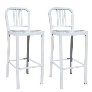 AmeriHome White Metal Counter Height Chair Set 2 Piece