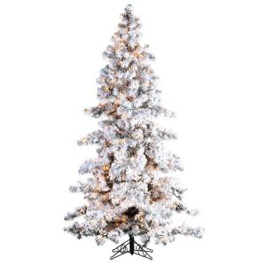 Sterling Inc. 7.5 ft. Pre-Lit Heavy Flocked Spruce White Artificial Christmas Tree with Clear Lights