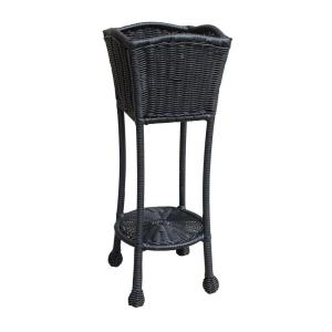 Jeco Black Wicker Patio Furniture Planter Stand by