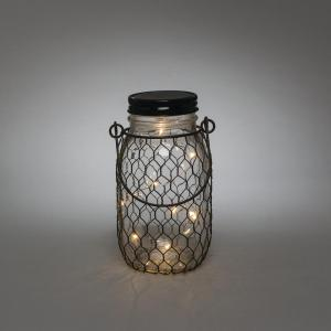 Everlasting Glow 3.5 inch x 7 inch Black Wire LED Lighted Mason Jar by