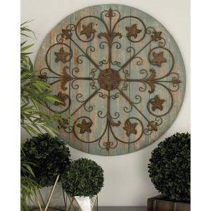 36 inch Rustic Wooden and Iron Wagon Wheel Wall Decor in Gray and Brown