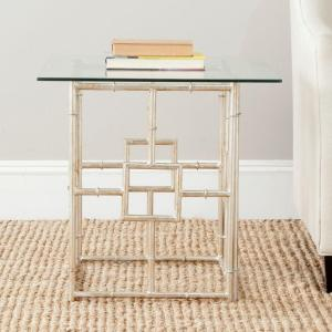 Safavieh Dermot Silver Glass Top End Table by