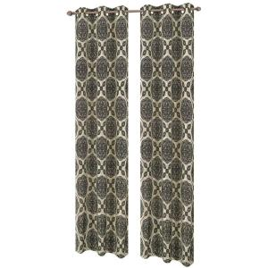 Window Elements Diamante Flocked Faux Silk 84 inch L Grommet Curtain Panel Pair,... by