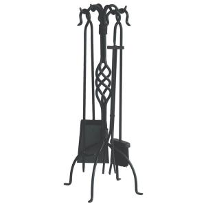 UniFlame Black Wrought Iron 5-Piece Fireplace Tool Set with Center Weave by