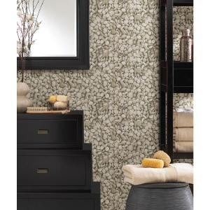 Brewster Sante Taupe Pebbles Wallpaper by