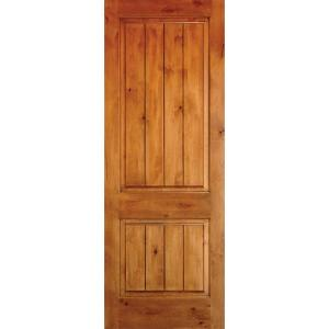 Krosswood doors 36 in x 96 in knotty alder 2 panel square top v groove solid wood left hand for Solid wood interior doors home depot