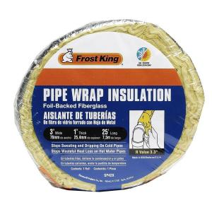 Frost King 3 inch x 25 ft. Foil Backed Fiberglass Pipe Wrap Insulation by Frost King
