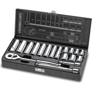 Channellock 3/8 inch Drive SAE Standard Socket Set (18-Piece) by