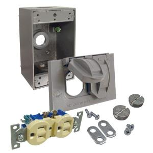 Bell Duplex Receptacle Weatherproof Kit-Gray