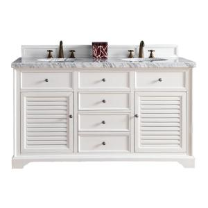 James Martin Signature Vanities Savannah 60 inch W Double Vanity in Cottage White with Marble Vanity Top in Carrara... by