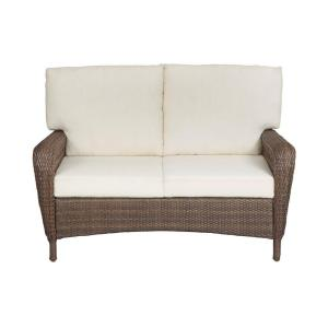 Martha Stewart Living Charlottetown Brown All Weather Wicker Patio Loveseat With Custom Cushion
