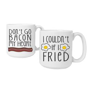 20 oz. Ceramic Bacon & Eggs Large Coffee Mugs by