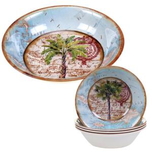 5-Piece Antique Palm Salad and Pasta Set by