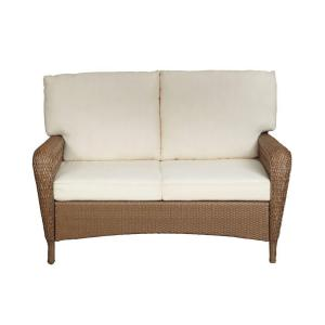 Martha Stewart Living Charlottetown Natural All Weather Wicker Patio Loveseat With Cushion