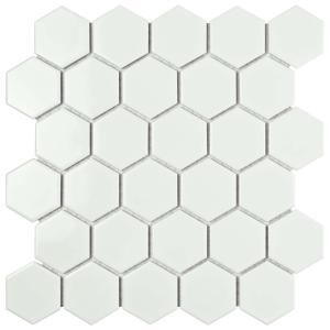 White Hexagon Floor Tile saveemail Metro Hex 2 In Glossy White 10 12 In X 11
