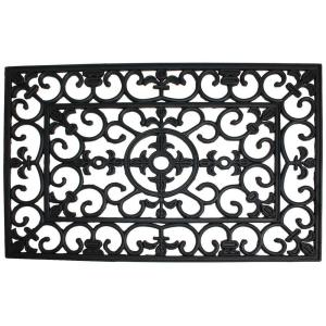 J & M Home Fashions Wrought Iron 18 inch x 30 inch Natural Rubber Door Mat by