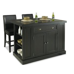 Home Styles Nantucket Kitchen Island in Distressed Black with Black Granite Inlay and Two Stools
