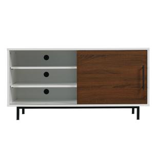 Bell'O Wakeman Two-Tone TV Stand for 55 inch TVs in High Gloss White/Wakefield Oak by