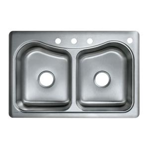 KOHLER Staccato Self-Rimming Stainless Steel 33x22x8.31 4-Hole Kitchen Sink