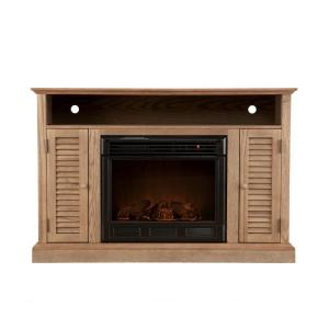 Southern Enterprises Antebellum 48 in. Media Console Electric Fireplace in Weathered Oak
