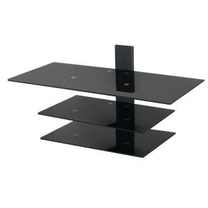 AVF Wall Mounted TV Stand, Glass Shelving System with Safety Straps, Gloss Black by