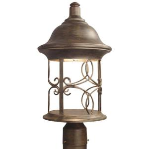 Hampton Bay Dark Ridge Post-Mount 1-Light Outdoor Bronze Lantern-DISCONTINUED