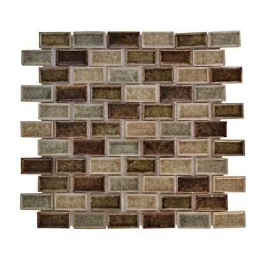 Jeffrey Court 12 in. x 12 in. Mineral Spring Crackle Glass Mosaic Tile