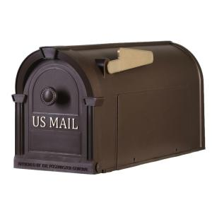 Postal Pro Post-Mount Hampton Mailbox in Bronze with Gold Lettering by